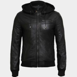 Men's Fashion Real Leather Hooded Jacket