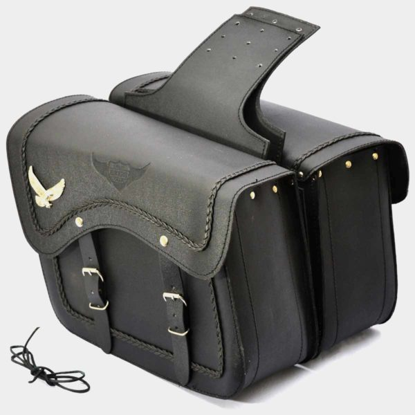 Motorcycle Leather Saddlebags with American eagle