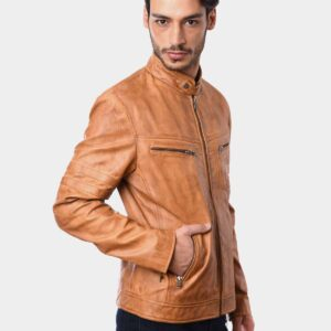 Mens Fashion Motorcycle Riders Real Leather Jacket