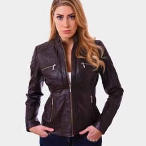 Women Bikers Lambskin Leather Jacket