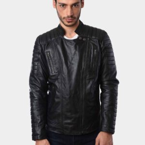 Mens Fashion Motorbike Lambskin Real Leather Jacket