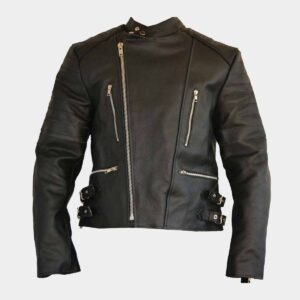 Mens Fashion Motorcycle Leather Jacket Black